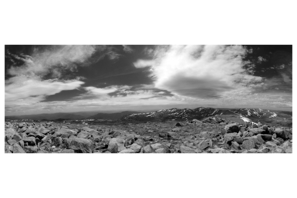A northern 180 degree panorama from the top of Mount Kosciuszko